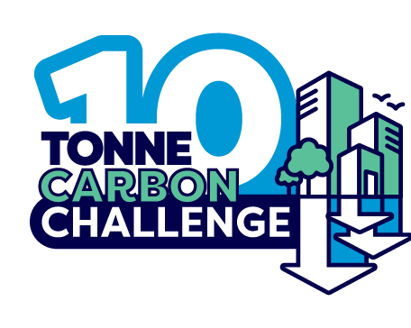 Logo the 10 tonne carbon challenge featuring buildings and an arrow pointing down