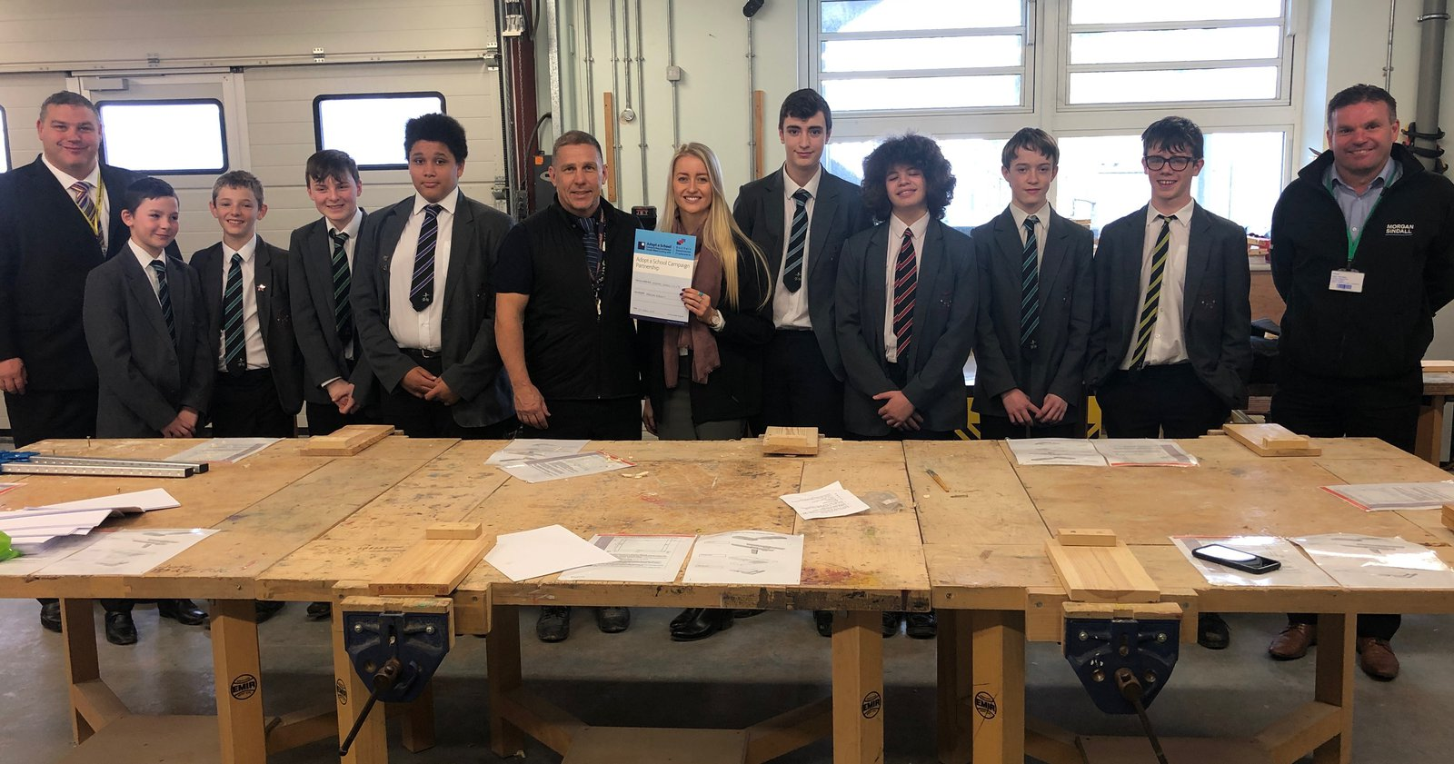 The team pictured at the launch of the adopt a school programme with Torquay Academy