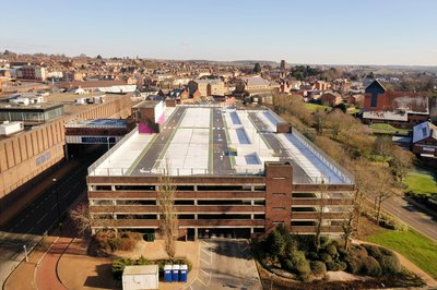 Aerial view of the completed Swansgate car park in Wellingborough
