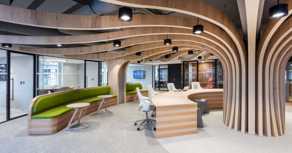 Image of the Morgan Sindall Group plc Office - Kent House, which features a wooden tree that stretches the length of the office
