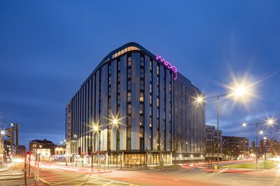 View from the outside of the Moxy Hotel in Slough in the evening
