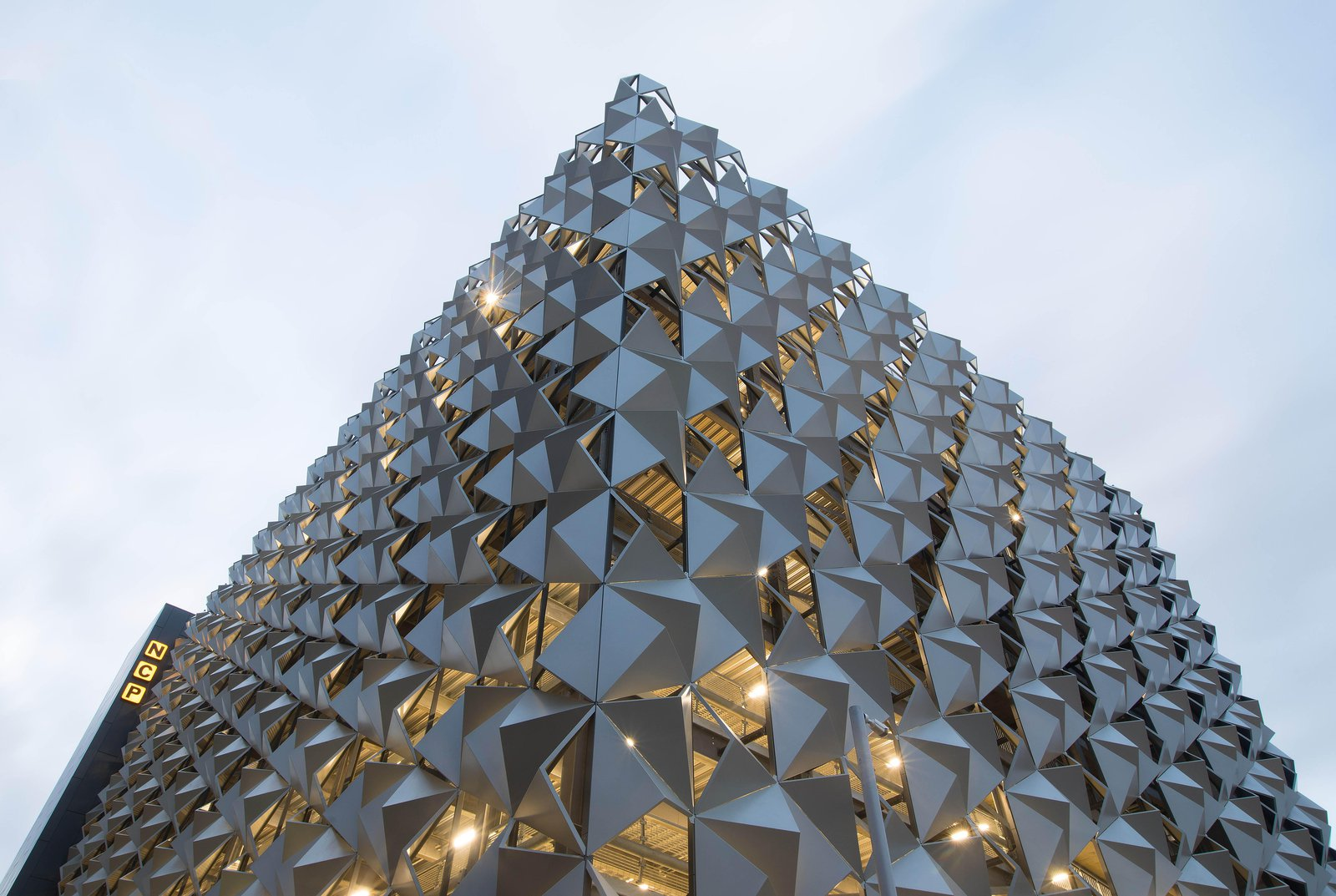 Image of the completed New Bailey Car Park in Salford, showing the architectural metal cladding surrounding the structure