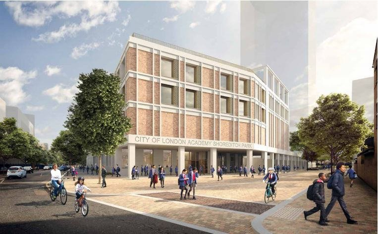 Image of the proposed City of London Academy Shoreditch Park which is being built by Morgan Sindall Construction in Hackney