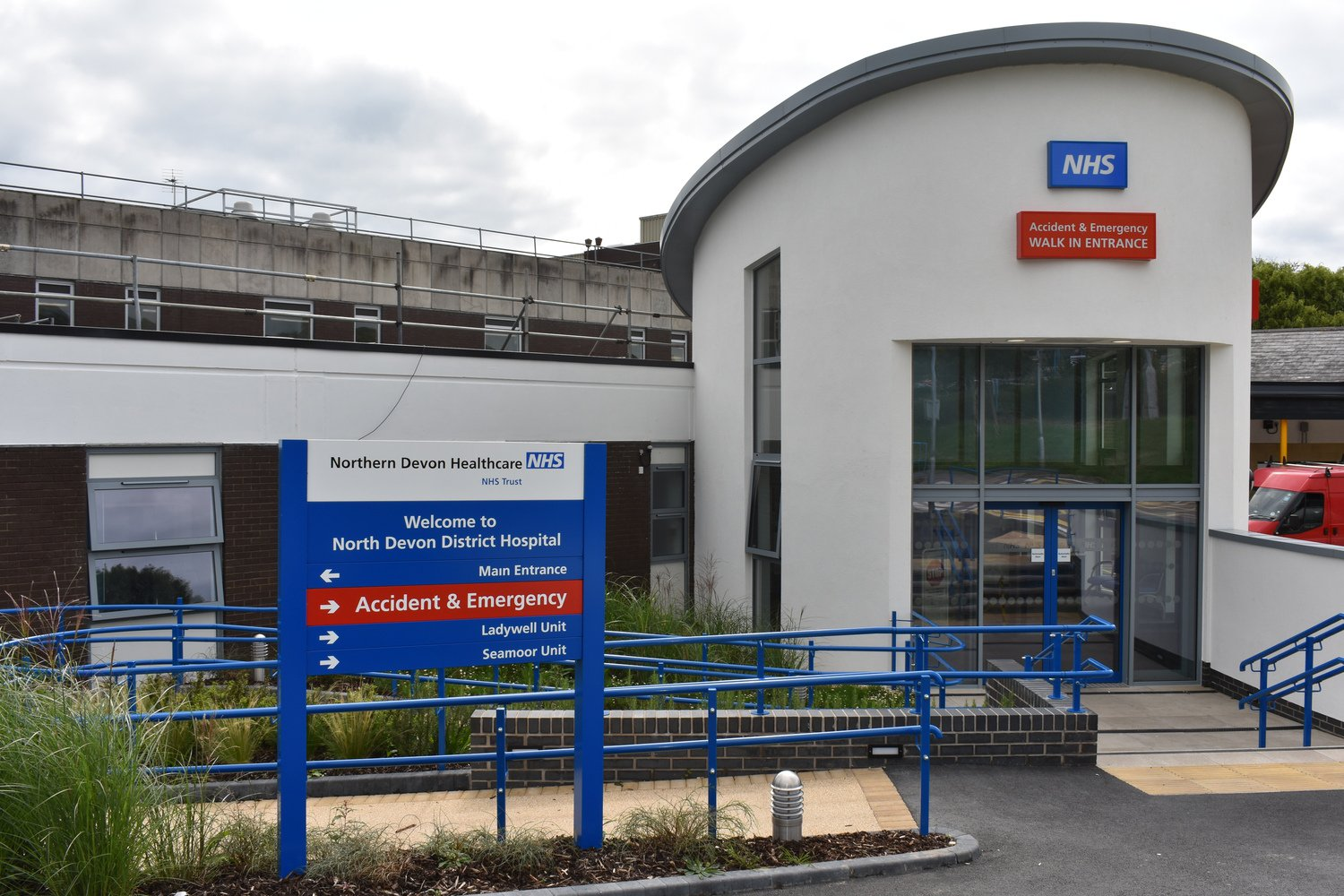 Front of the A&E Unit at North Devon District Hospital