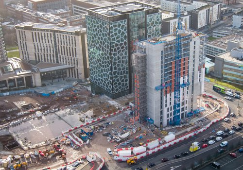 Aerial view of the Novotel Hotel in Liverpool built by Morgan Sindall Construction