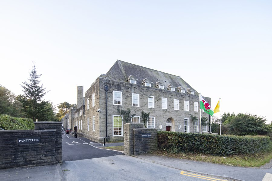 Front of the Grade two listed Pantycelyn student accommodation, taken from the roadside