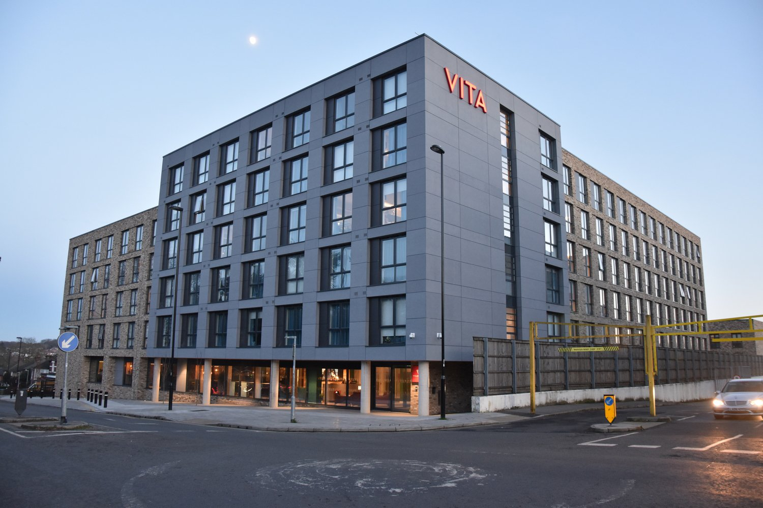 Image of the outside of the Vita Student Accommodation in Southampton, a six storey building