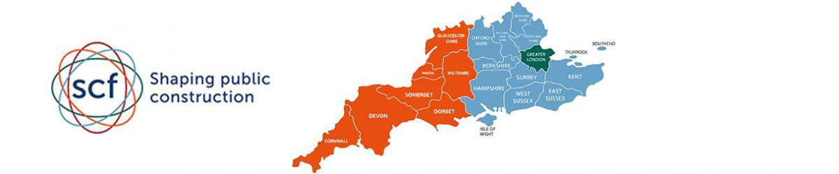 SCF logo and map of the geographical locations is operates in the South East of the UK