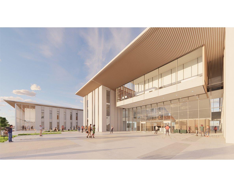 Visual shows the concept for the Alconbury Secondary School building