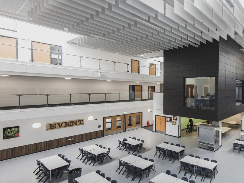 The dining hall at Littleport Secondary School, the centre of the building with classrooms overlooking the space