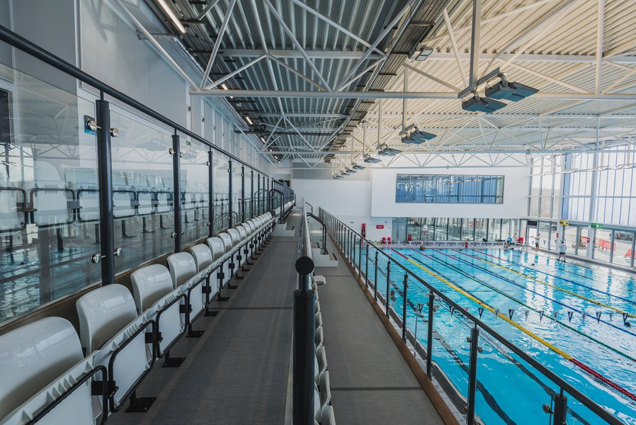 Picture of the pool at Slough Leisure Centre, a view from the viewing area platform