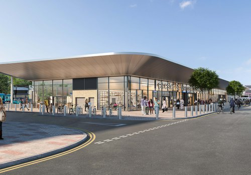 Proposed design for the new St Margaret's Bus Station building in Leicester