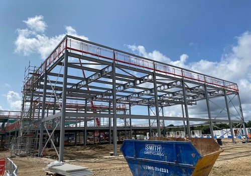 The completed steel frame at the new Glebe Farm School project