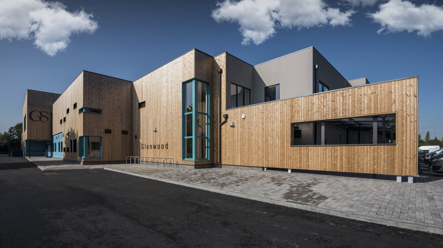 Image of the front of the Glenwood School in Essex showing the wooden cladding used on the exterior
