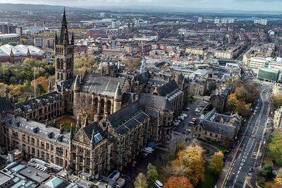 Aerial view of the University of Glasgow campus, Scotland