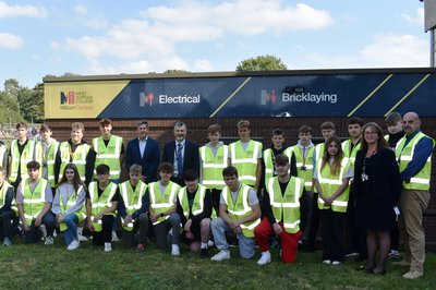 Group of staff and students at West Suffolk College with Morgan Sindall Construction employees