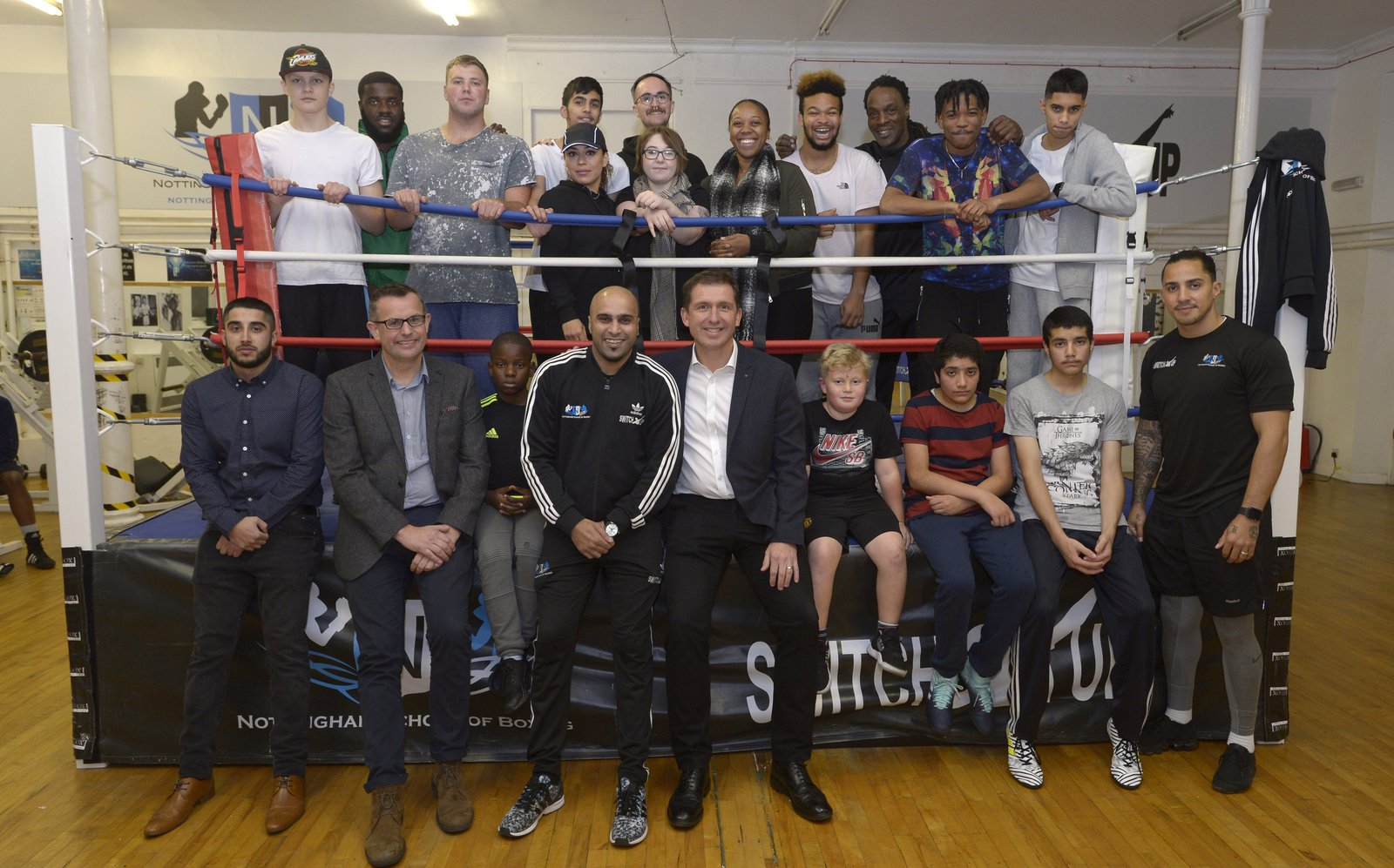 Morgan Sindall Construction team and students at the Nottingham School of Boxing, pictured in the Boxing ring