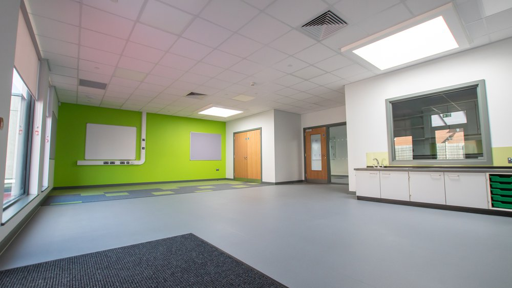 Interior view of a  classroom at Highfields Spencer Academy in Derby