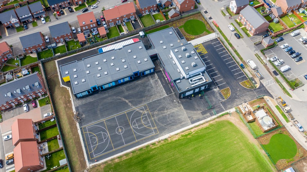 Aerial view of Highfields Spencer Academy in Derby