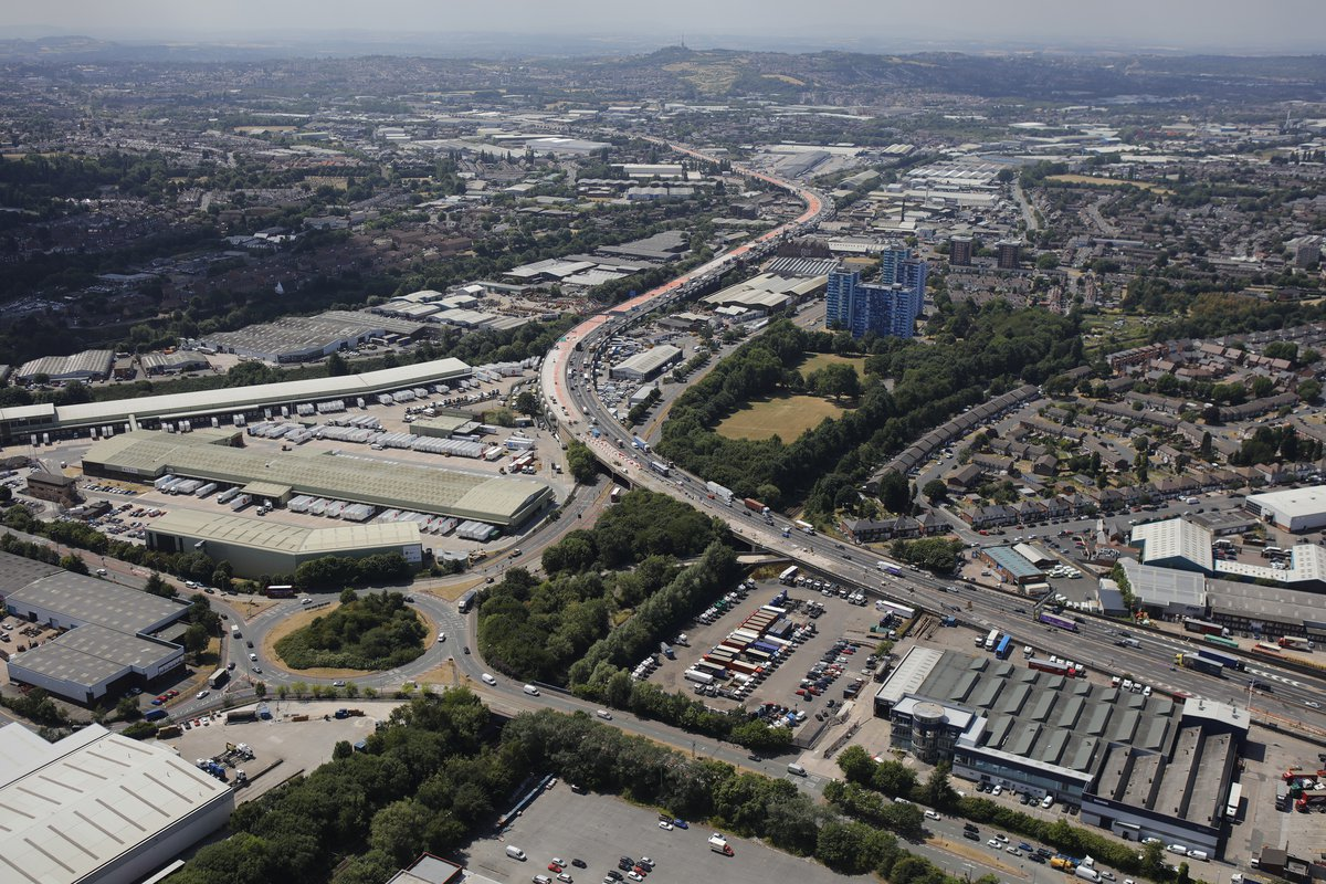 An aerial view of the M5 Oldbury viaduct project