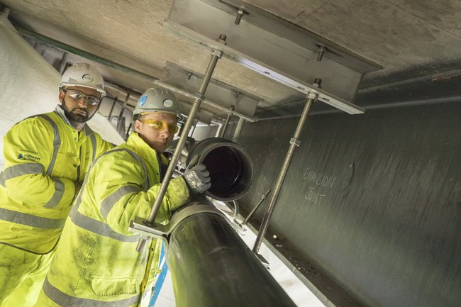 Two colleagues working on the M5 Oldbury viaduct project
