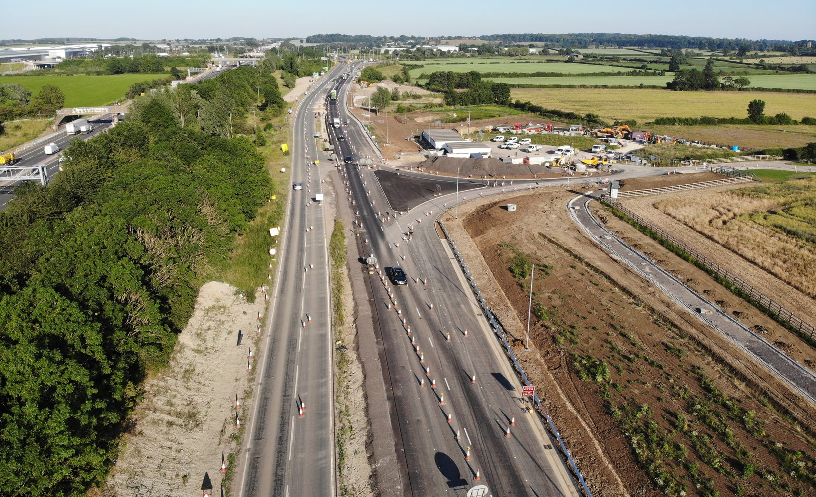 An aerial view of the A421 dualling project site