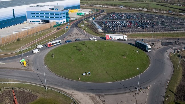 An aerial view of a roundabout at the A421 dualling project site