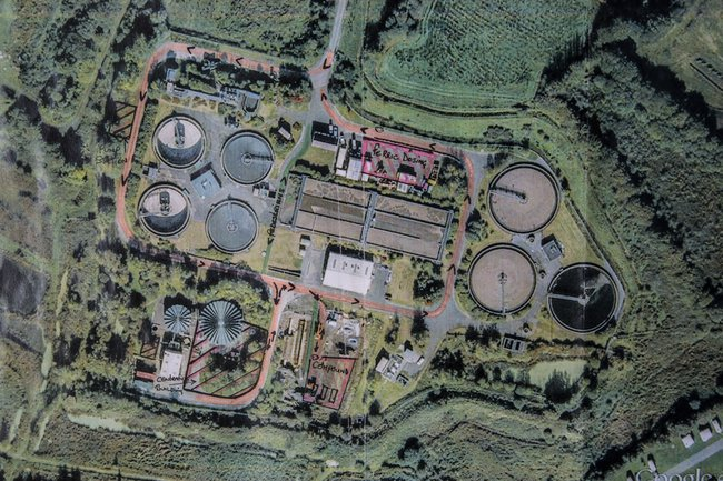 An aerial view of Llanelli water treatment works