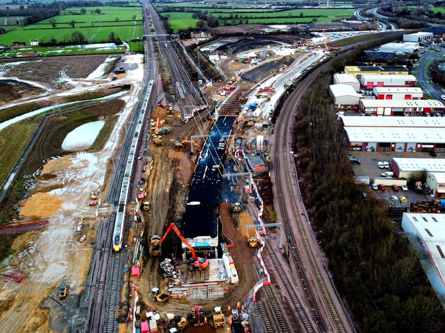 An aerial view of the Werrington Grade separation project, showing work taking place across multiple railway lines