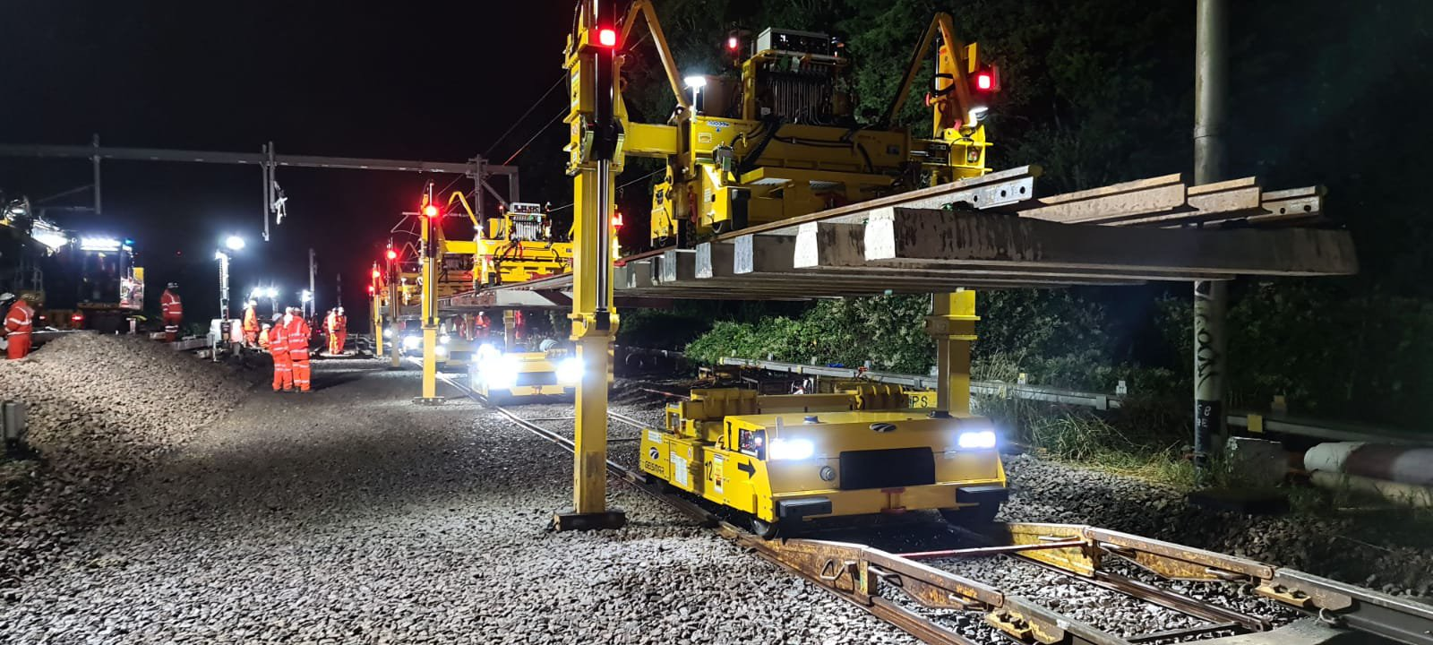 A close up shot of nighttime work on rail tracks at the Barking Riverside project.
