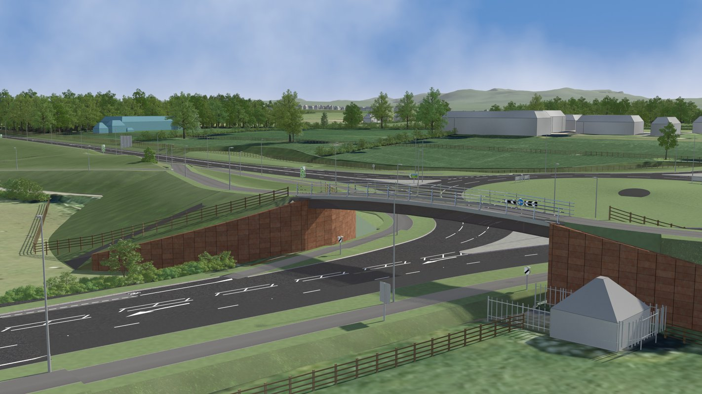 An artist's impression of the Carlisle Southern Link Road, depicting the road with a footbridge above it