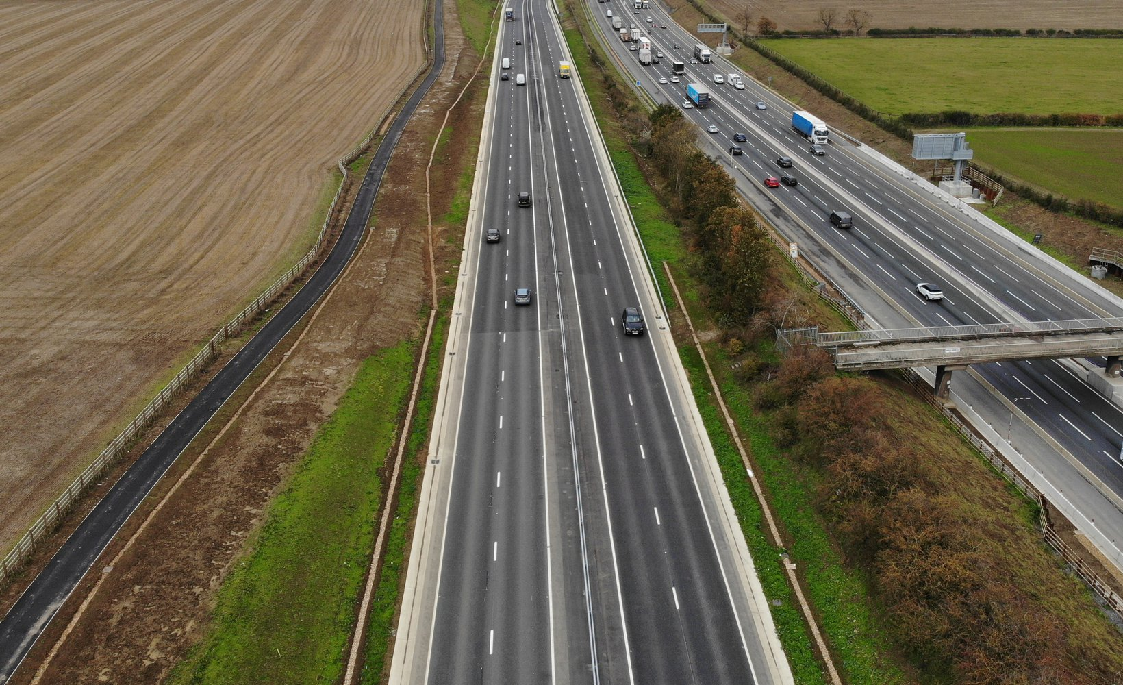 An aerial view of the A421 dualling project