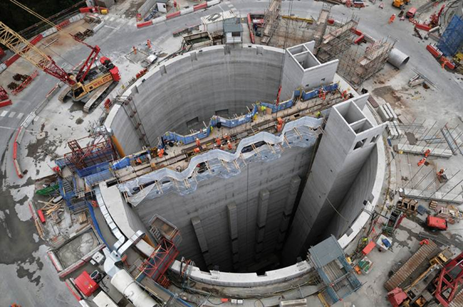 An aerial view down the huge shaft of a tunnelling project