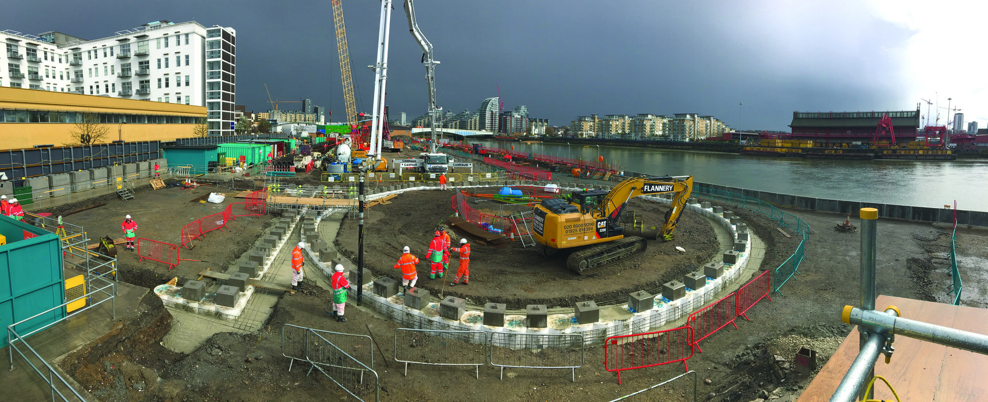 A panoramic view of the Thames Tideway Tunnel, West Section site