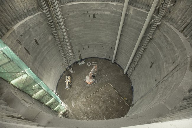 A view looking down one of the large sunken shafts as part of the Thames Tideway Tunnel West Section project