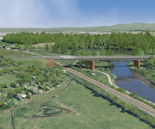 An illustration of an aerial view of Carlisle Southern Link Road