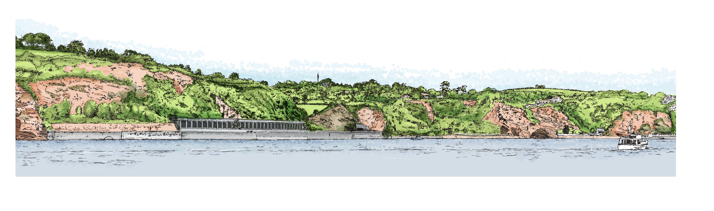 An illustration depicting the view of a hillside railway line from the sea
