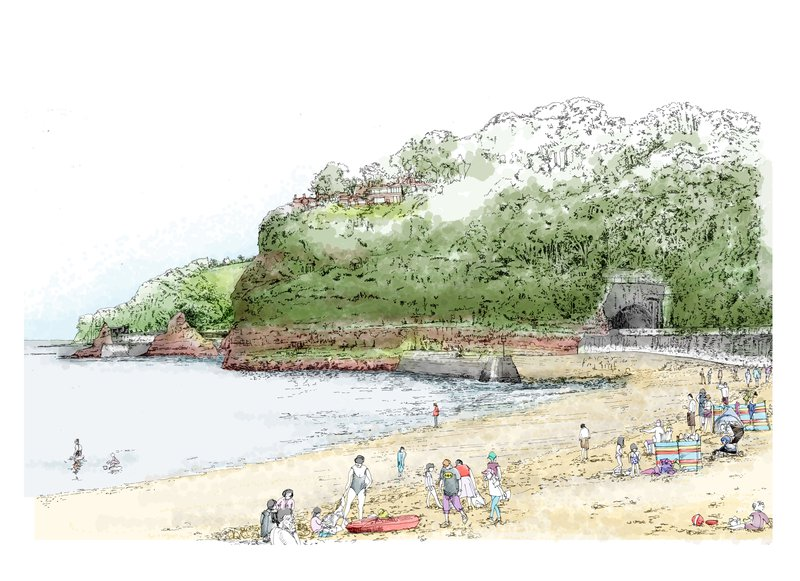 An illustration showing a beach in the foreground, with a tunnel emerging from a hill in the background