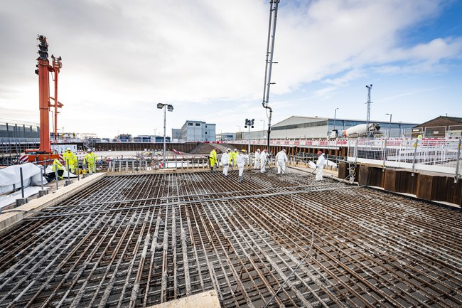 Concrete foundations being prepared as part of a project within the Sellafield Infrastructure Strategic Alliance