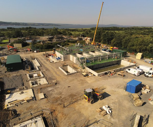 An overview shot showing work taking place at the Llanelli project on the Welsh Water Framework