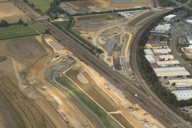 An aerial view of the Werrington Grade Separation project