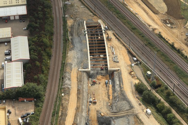 An aerial view of Werrington Grade Separation project