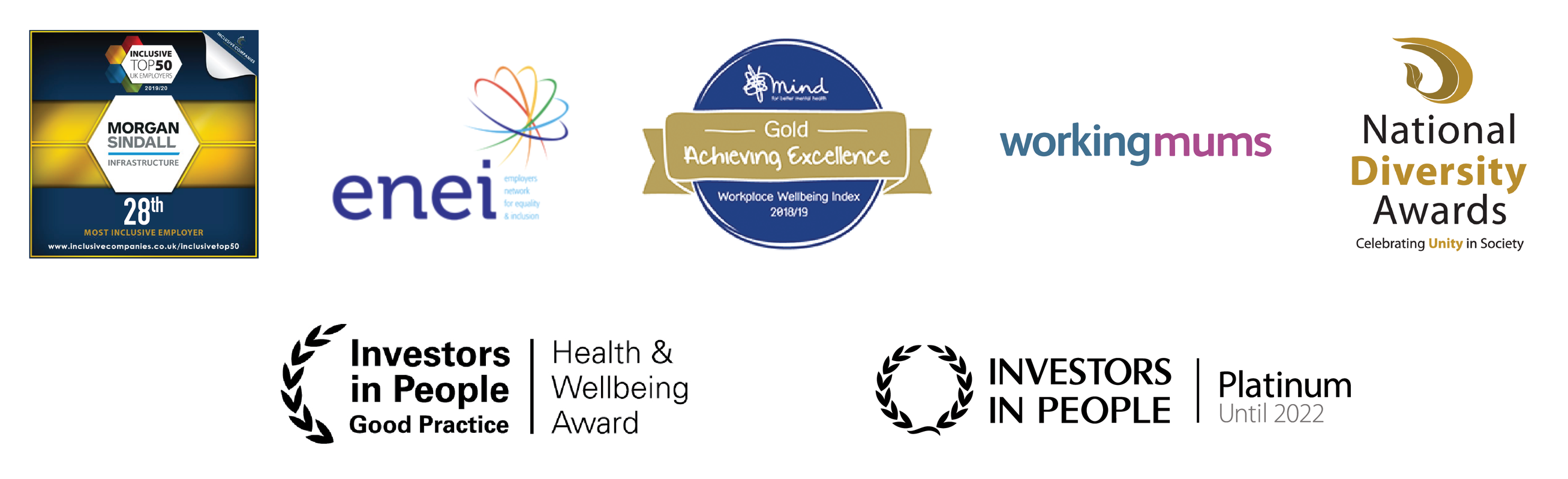 Logos for awards that we have won as a company. These include Most Inclusive Employers (28th place), Employers Network for Equality and Inclusion, Mind Workplace Wellbeing Gold, Working Mums, National Diversity Awards, Investors in People