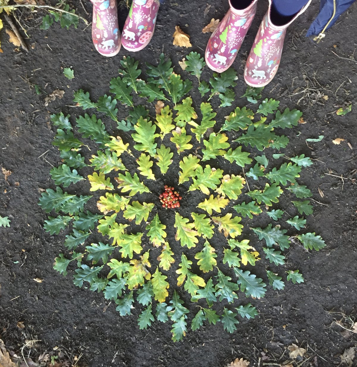 Leaves are arranged in a circular pattern on the ground, with two pairs of Wellington boots visible at the side of the scene