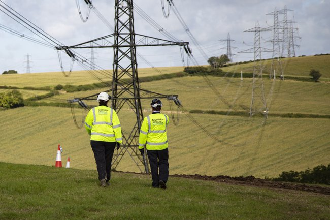 Two colleagues wearing Personal Protective Equipment are walking away from the camera, across fields. Electricity towers and cabling stretch off into the distance