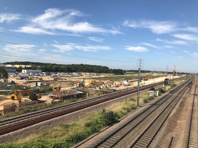 A view over the curved jacked box part of the Werrington Grade Separation project